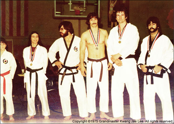 Photo: Master Lee's Ridgewood, NJ YMCA students (Black Belts Rich, Steve, Timothy, Rich) are medal winners at a tournament.